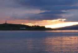 Sunset from anchorage at Oban Bay